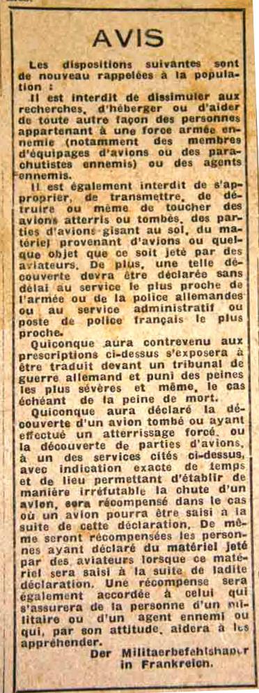 Avis publié par les autorités militaires allemandes dans la presse française.